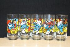 1983 set of 5 Smurf character glasses peyo, Wallace Berrie & Co.