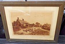 Antique Framed Engraving - Cottages & Sheep - Fred Slocombe - 1886