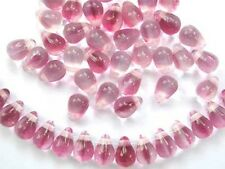 50 CRYSTAL / PINK glass drop beads 4x6mm (t025)