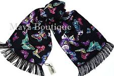 Butterfly Scarf Wrap Maya Matazaro Georgette With Fringes Made In USA