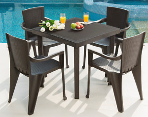 MQ INFINITY 5-Piece Chair and Table Set, Espresso