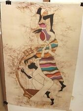 P.NSUBUGA AFRICAN MAN AND WOMAN DANCERS ORIGINAL BATIK PAINTING