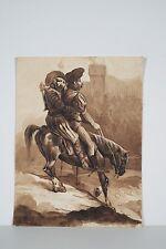 Dessin Original Lavis signé FEROGIO Deux Hommes à Cheval XIX° s Don QUICHOTTE ?