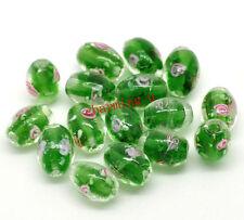 5pz vetro perline ovale fiore murano lampwork 14x10mm colore verde