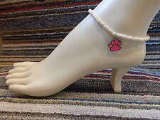 beads anklet stretchy cat dog bear pink Paw print enamel charm ankle bracelet