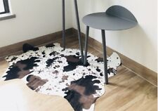 Rug Print Rawhide Brown Faux Cowhide Bedroom Living Carpet Throw Cow Animal Fur
