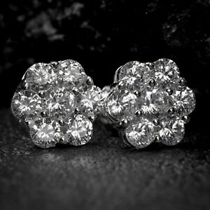 White Gold Sterling Silver Iced Round Flower Cluster Cz Stud Hip Hop Earrings