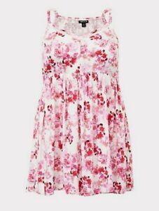 Women's Torrid  Ivory Floral Challis Smocked Babydoll Cami  Sz 3  NEW
