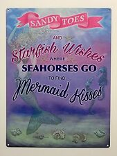 Sandy Toes Starfish Wishes - Tin Metal Wall Sign