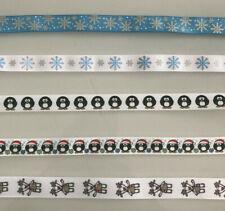 CHRISTMAS HANDMADE DOG COLLAR / LEAD - 16mm WIDTH - PENGUINS SNOWFLAKES