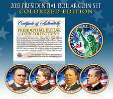 2013 Presidential $1 Dollar COLORIZED President 4-Coin Complete Set w/Capsules