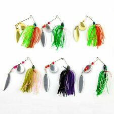 6pcs Fishing Lures Spinners Spoon Baits Pike salmon Bass Jigs Head Rubber Tackle
