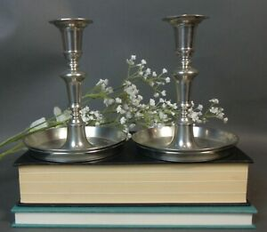 John Somers Pewter Candlestick Holders x2 Hallmarked 'X MG' Made In Brazil KL/BW