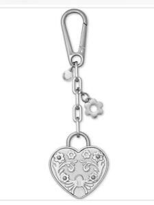 NWT Michael Kors MK Heart Lock Purse Charm Key fob Silver In The box