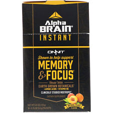 NEW ONNIT Alpha Brain Instant Memory & Focus 30 Packets Peach Flavor FREE SHIP