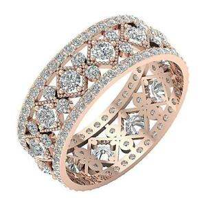 Designer Eternity Ring Natural Round Cut Diamond SI1 G 2.80 Ct 14K Gold 8.10 mm