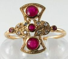 9CT GOLD DECO INS INDIAN RUBY & DIAMOND FAN RING