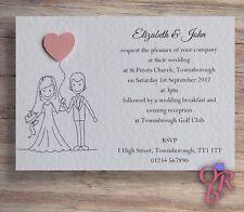 10 Wedding Invitations Evening Invites Personalised Handmade *40 colour choices*