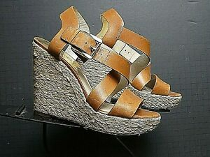 Women's Michael Kors Harness Leather Strappy Slingback Wedge Sz 7M Excellent!