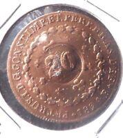 """COPPER BRAZIL """"OVER STRIKE"""" 1824/1840    40/20 REIS COIN."""
