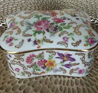 Vintage Limoges France MURMAC, Decorative Roses & Gold Pin or Trinket Tray Box