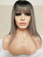 Grey Silver Human Hair Wig With Long Bangs Fringe Short Bob
