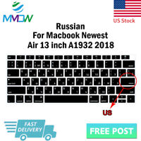 """Russian Language Silicone Keyboard Cover Skin For Macbook New Air 13""""A1932 2018"""