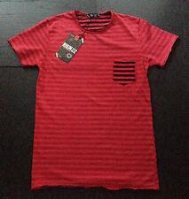 T-shirt uomo girocollo L-XL-XXL rossa a righe grigio e blu taschino cotone
