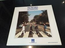 """THE BEATLES ON COMPACT DISC """"ABBEY ROAD"""" HMV BOX SET + BADGE + POSTERS 1987 EX"""