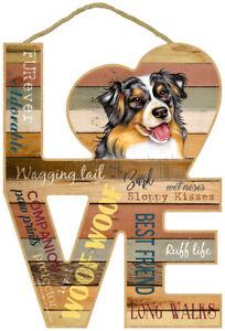 Australian Shepherd Word Art Love Wood Cut Out 8x11 Hanging Dog Sign NEW L84