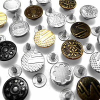 14 mm Hammer On Denim Jeans Buttons brass based with tack alloy studs AH1