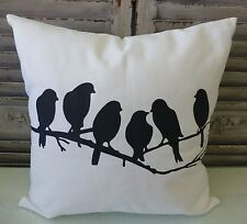 Birds on a branch cream cushion cover