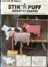 """Stick n Puff Country Shapes sponge COW 4"""" soft sculpture no sew pattern"""