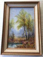 "Original Norios Hillis Watercolor Painting Landscape, Signed, Framed, 11"" x 18"""