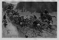 FREDERIC REMINGTON CAVALRY SOLDIERS ADVANCE HORSES PULLING CARTS AND HOWITZER