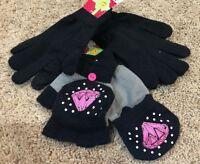 Girls Black Joe Boxer Texting Black Diamonds Flip Top Gloves 3 Pair