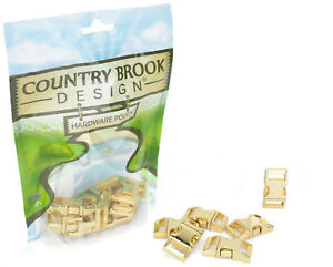 10 - Country Brook Design® 5/8 Inch Contoured Brass Plated Side Release Buckles