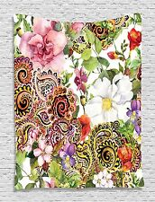 Paisley Flowers Roses Tapestry Wall Hanging for Living Room Bedroom Dorm Decor