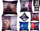 Indian Handmade Silk Lord Buddha Cushion Cover Ethnic Indian Pillow Sofa Cover