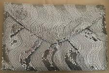 CLAIRE's Clutch silbermetallic glitzernd Tasche 28x18cm Pailletten Briefumschlag
