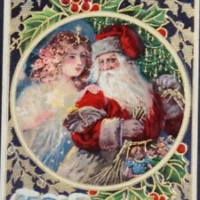 C.1910 Postcard Christmas Wishes Santa Claus Women Children Holly Mistletoe