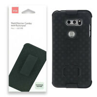 Verizon Shell Holster Combo Belt Clip Case With Kickstand Protection For LG V30