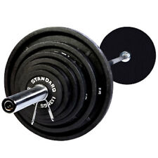 Troy Barbell USA Sports Black Olympic Weight Plate Set With Bar 300 Lbs