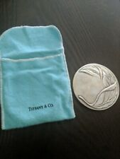 Tiffany & Co. Silverplate Purse Compact Hand Leaf Mirror in Pouch vintage auth