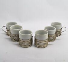 Set of Six Espresso Demitasse Cups in Holders