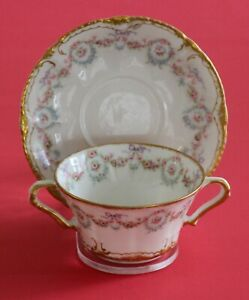 Antique Haviland Limoges Cup Saucer Pink Roses Wreath Double Gold!
