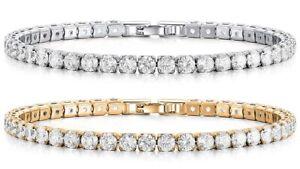 Women's 18k White Gold Plated Tennis Bracelet Made With Swarovski Elements