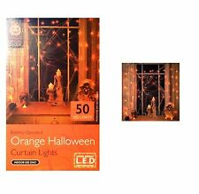 Spooky Halloween Curtain Lights 50 LED Orange Lights Halloween Party Decorations