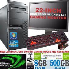ULTRA Veloce Quad Core LENOVO i5 SET COMPLETO DI GIOCO COMPUTER PC 8gb RAM GTX 750ti