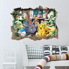 Pokemon Outside 3D Broken Wall Window Sticker Removable Size 45x60cm